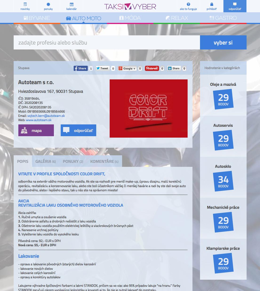 Taksivyber.sk - detail spoločnosti