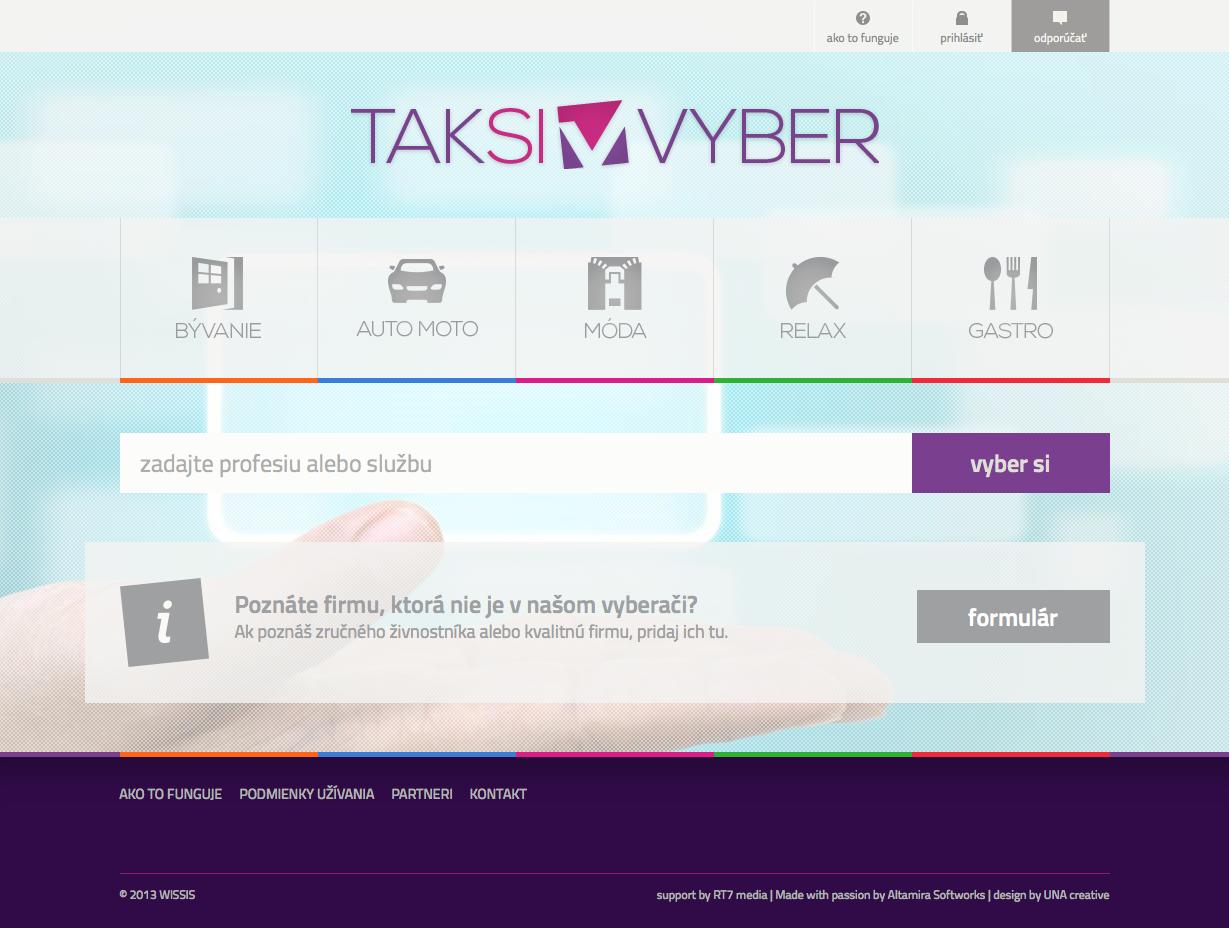 Taksivyber.sk - homepage