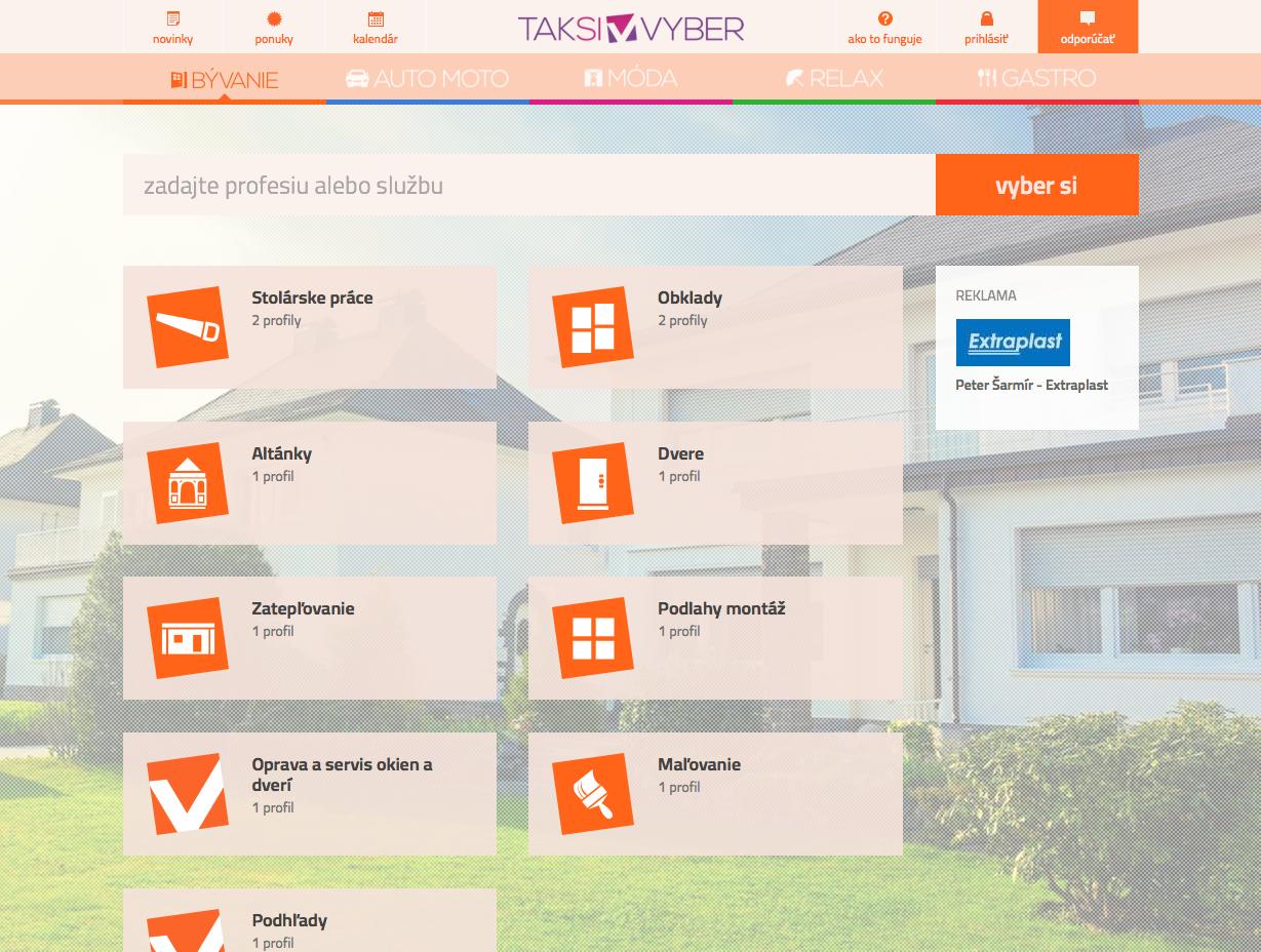 Taksivyber.sk - sekcia bývanie