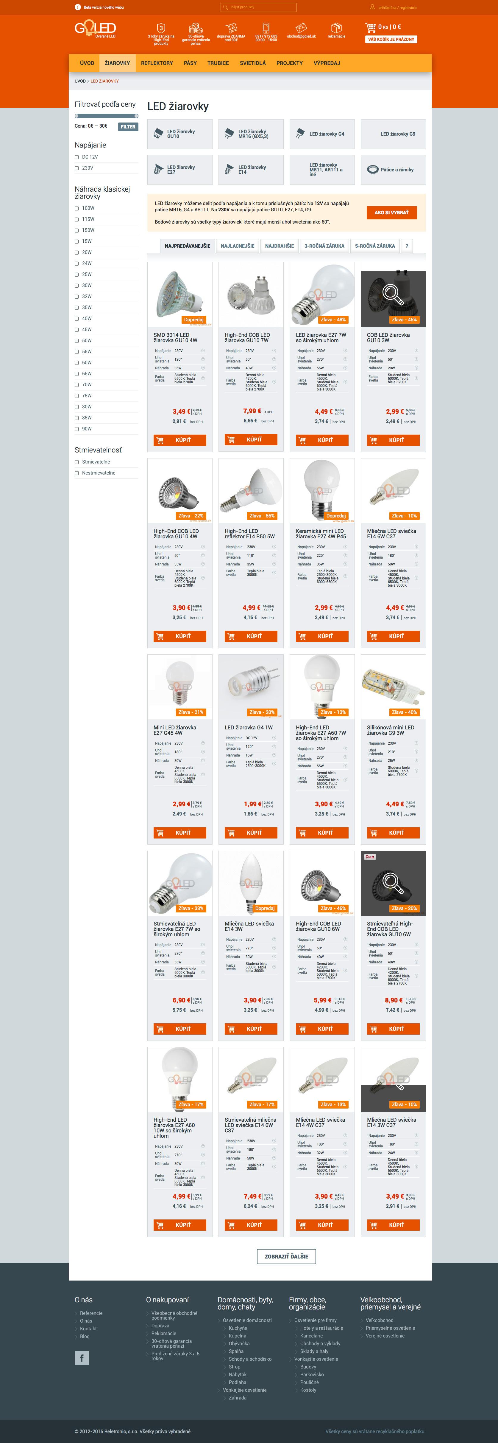 GOLED.sk - výpis produktov
