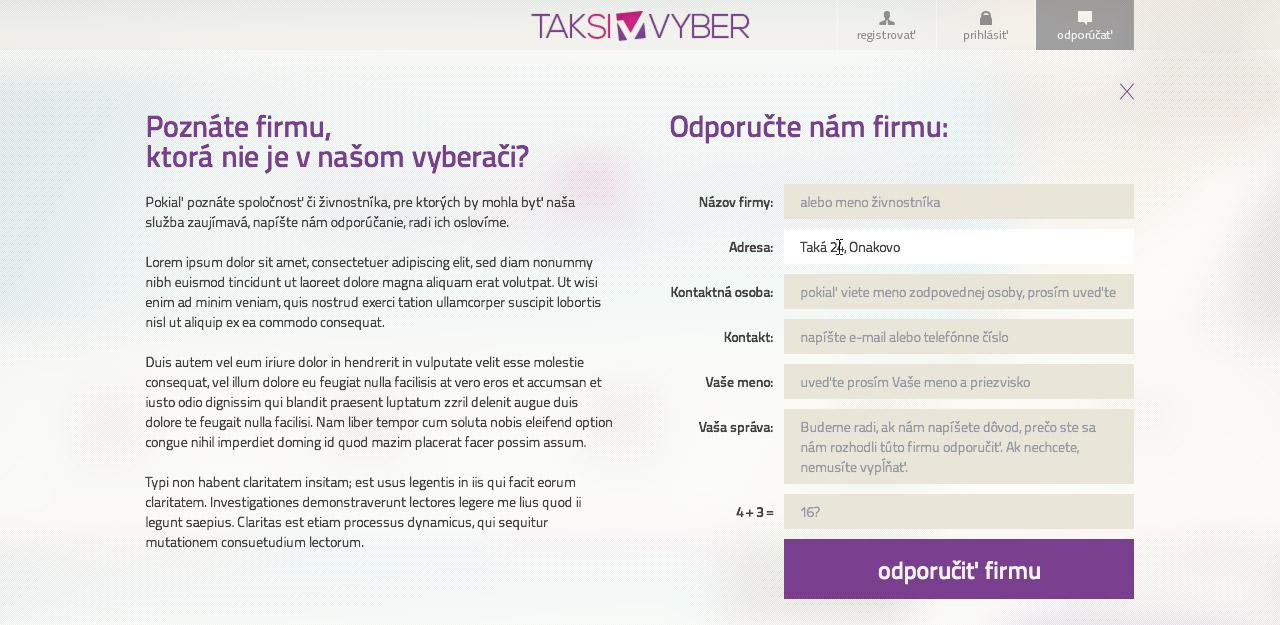 Taksivyber.sk - odporúčací formulár
